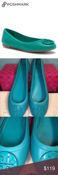 2c26607dca0b Tory Burch Abby Ballet Flat Green Biscayne 300 NEW Brand new with box and  dustbag AUTHENTIC  I am aware that the color looks more blue in the  pictures.