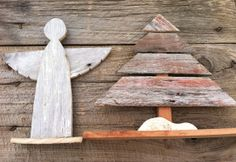 Reclaimed Barn Wood - Wooden Angel and Christmas Tree (Set of 2) Christmas Decoration $30.00