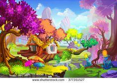 Creative Illustration and Innovative Art: The Tree House Scene. Realistic Fantastic Cartoon Style Artwork Scene, Wallpaper, Story Background, Card Design  - stock photo