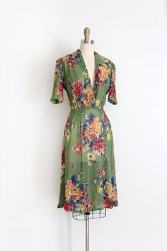 vintage 1930s dress // 30s sheer floral dress by TrunkofDresses