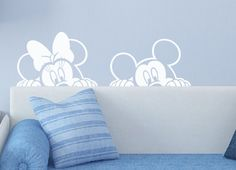 Disney Mickey Minnie Mouse Wall Decal Sticker Winking /