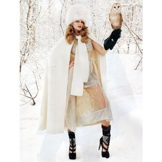 Snow queen Eniko Mihalik ❤ liked on Polyvore featuring models, winter, photos, people and backgrounds