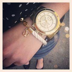 Nautical White Rope Bracelet with Gold Anchor - Merriweather bracelet - O My Heart!