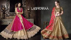 A-Line Lehengas! This is one of the latest designer lehenga styles that suits women with a #pear-shaped body or who have a heavier bottom compared to the upper body.