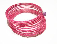 Hot pink summer seed bead jewelry, Bangle stack wrap custom accessories bracelet