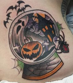 Halloween snowglobe tattoo - Richie Blackheart