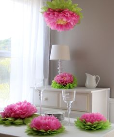 Light Pink Flower Pom Set for fairy party