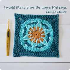 crochet blue orange granny square pattern. I would like to paint the way a bird sings. Claude Monet