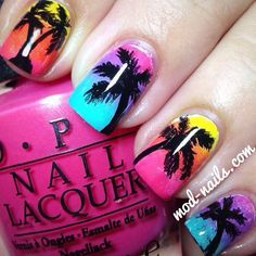 Fun tropical nails , Amazing work by @modnails. Tropical nails