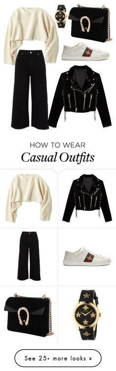 """""""Casual"""" by beatriceorlandi on Polyvore featuring Uniqlo, River Island, The Kooples, Gucci, denimtrend and widelegjeans"""