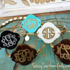 New to SassySouthernGals on Etsy: Engraved Monogrammed Bangle Bracelet Monogammed Bracelet Engraved Acrylic Monogram Bangle Bracelet Monogram Bracelet Engraved Monogram USD) Monogram Bracelet, Monogram Jewelry, Engraving Fonts, Wire Wrapped Bangles, Circle Shape, Monogram Gifts, Bangle Bracelets, Necklaces, Jewelry Collection