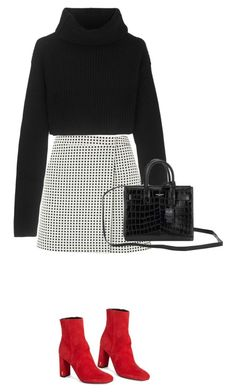 black and white checked skirt and a black crop turtleneck with red booties. Visi… black and white checked skirt and a black crop turtleneck with red booties. Mode Outfits, Skirt Outfits, Fashion Outfits, Womens Fashion, Fashion 2018, Fashion Heels, Jeans Fashion, Preppy Outfits, Cute Casual Outfits