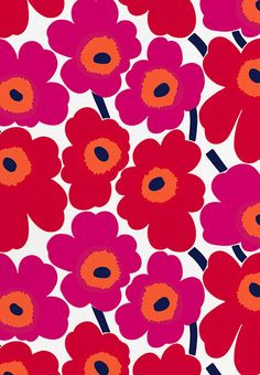 Marimekko Unikko Red Canvas Fabric The Marimekko Unikko flower fabric has red and pink flowers with orange centers and black stems. This popular Marimekko design was created by Maija Isola in This fabric can be used for upholster. Motifs Textiles, Textile Patterns, Print Patterns, Floral Patterns, Floral Pattern Print, Textile Pattern Design, Vintage Patterns, Marimekko Fabric, Marimekko Wallpaper