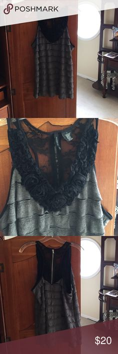New Directions** top Grey and black top. Black rosette collar with black lace back and zipper. Grey layering both front and back. new directions Tops