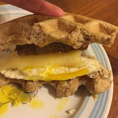 Maybe not a great pic again  but soooo gooood!!! #TrimHealthyMama breakfast-waffle breakfast sandwich and its #lowcarb and delish! by the_new_jen