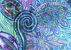 Gabriella2077's art on Artsonia from Raewyn Harris 'Koru Ferns' inspiration Pecanwood College Preparatory School grade 7 [Sth Africa]