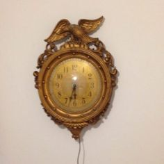 "Vintage Wall Clock Eagle Look Like Port Hole Gold Tone Marked 6 Ornate 21"" Tall"