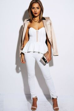 #1015store.com #fashion #style PETITE bright white mesh inset sweetheart bustier peplum party jumpsuit-$30.00