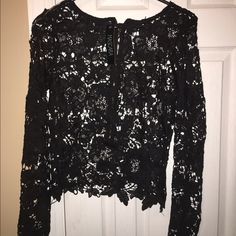 HOST PICK  Black knit sheer top zipper back Black knit sheer top zipper back Mascara Tops Blouses