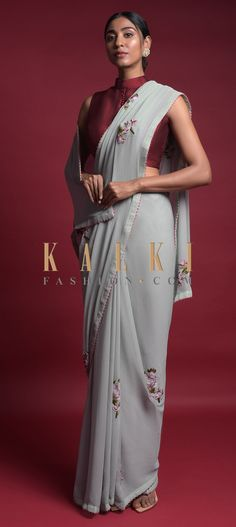 Grayish Blue Saree In Chiffon With Thread And Beads Embroidered Floral Motifs Online - Kalki Fashion Indian Attire, Indian Wear, Indian Outfits, Anarkali, Lehenga, Saree Blouse, Sari, Saree Trends, Saree Look