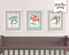 3 Pack Woodland Nursery Wall Art // Gender Neutral, Baby Girl, Baby Boy // Printable Fox Deer Racoon Decor // Digital Artwork