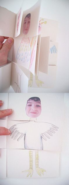 """..dividing them into three sections, to make books where you can swap heads, middles and legs. Here are some examples of the books they created using photographs of themselves as a starting point."""