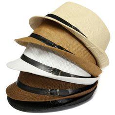 Unisex Braid Fedora Trilby Gangster Cap Beach Sun Straw Panama Hat at Banggood