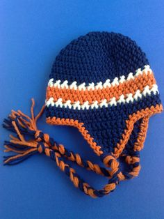 Denver broncos hat, football team hat, nfl hat, crochet hat