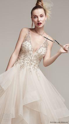 sottero midgley fall 2016 bridal sleeveless deep v neck heavily embellished…