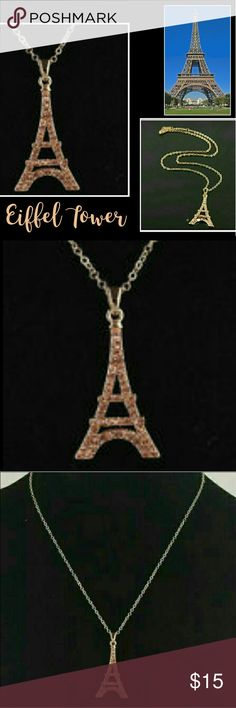 💖 Eiffel Tower Paris Necklace Rose Gold Champagne Eiffel Tower Necklace with Champagne colored stones. New in the package. I will gladly bundle items to give you a discount. Smoke free home. Jewelry Necklaces