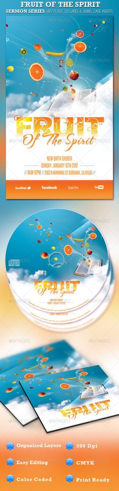 Fruit of the Spirit Church Flyer and CD Template - Price: $7.00