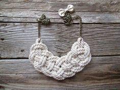 White Rope necklace Nautical rope knot necklace by NasuKka on Etsy