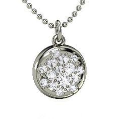 Naked Pave Petite Pendant, Sterling Silver Necklace with White Sapphire from Gemvara