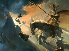 Odin on Sleipnir with the ravens Huggins and Munnins and the wolves, Geri and Freki