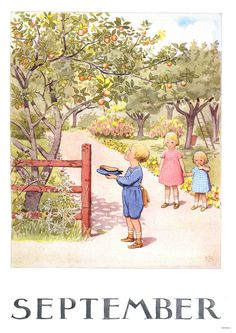 Månadsbild med klassiskt Elsa Beskow motiv September by ginger and blonde Images Vintage, Vintage Pictures, Vintage Cards, Vintage Postcards, Cool Pictures, Elsa Beskow, Seasonal Image, Retro Kids, Angels