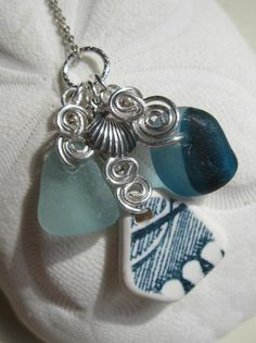 Sea Glass Necklace A Trio of Rare Sea by MermaidsTearsJewelry