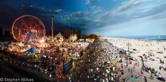 Coney Island Boardwalk, Day to Night photography by Stephen Wilkes