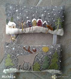 Scrap,quilt and stitch: Le temps de l'avent Christmas Cushions To Make, Christmas Pillow, Christmas Love, Christmas Crafts For Kids, Holiday Crafts, Applique Pillows, Felt Applique, Snowman Quilt, House Quilts