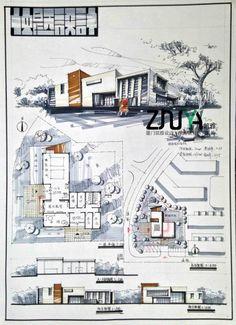 Brilliant artistic architecture sketches for a shop Architecture Concept Drawings, Architecture Sketchbook, Architecture Board, Architecture Design, Architecture Diagrams, Presentation Board Design, Architecture Presentation Board, Architectural Presentation, Architectural Models
