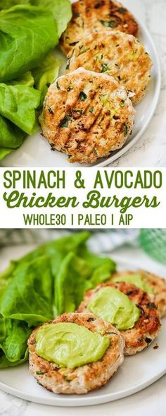 These spinach avocado chicken burgers are the ultimate healthy burger. They're p… These spinach avocado chicken burgers are the ultimate healthy burger. They're packed with healthy fats, protein, and even hidden veggies. Paleo Recipes, Mexican Food Recipes, Cooking Recipes, Healthy Burger Recipes, Healthy Recipes With Spinach, Healthy Ground Chicken Recipes, Health Food Recipes, Healthy Winter Recipes, Simple Recipes