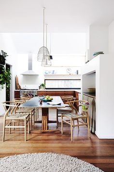 white + wood open kitchen