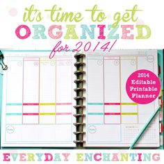 EDITABLE 2014 Printable Daily Planner pdf INSTANT DOWNLOAD- diy/Customize Editable in Adobe Reader $10