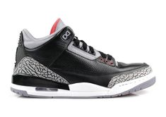 b3dd1921000665 Air Jordan III Basketball Sneakers 2018 Varsity Red Cement White Black  136064 010 Black Cement 3
