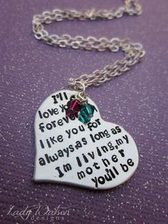 i love you forever i like you for always book   ll Love You Forever Book Quote Heart Handstamped Necklace Mothers ...   would love to have this