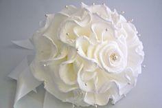 White Handmade Paper Wedding Bouquet / Alternative bridal bouquet / Curling Crepe Paper Bouquet / Bridesmaids Accessories