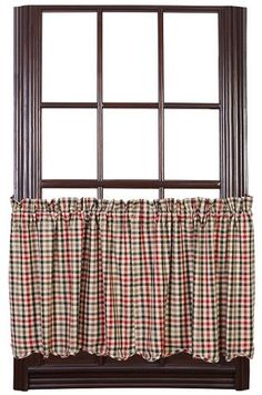"Our Victory Scalloped Lined Tier Curtains 24"" will bring a country flair to your home! https://www.primitivestarquiltshop.com/search?type=product&q=victory+scalloped+lined+tier+curtains #countrystylecurtains"