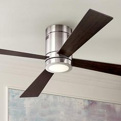 Give your home a refreshing breeze with this ceiling fan finished in brushed nickel with four oil-rubbed bronze finish blades.