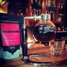 my coffee is syphon and solberg & hansen coffee beans  in barometr coffee & bar