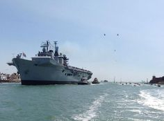 """""""Royal Navy carrier HMS Illustrious entering for the last time, 22 July 2014 Hms Illustrious, Royal Navy Aircraft Carriers, Royal Marines, Flight Deck, War Machine, Portsmouth, Random Things, Past, History"""