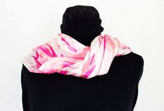 White pink Scarf in pure silk# color handmade for women;handcraft;gift idea; by InSetArte on Etsy